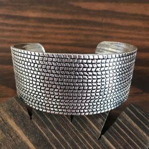 Jewelry - Embossed Silver Wide Cuff Bracelet